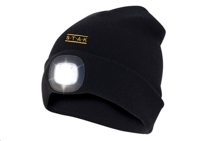 Čepice s čelovkou ORTHUS ST011 s předním i zadním světlem černá